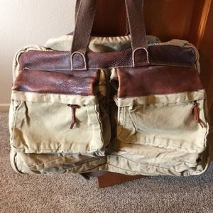 Canvas and leather travel bag